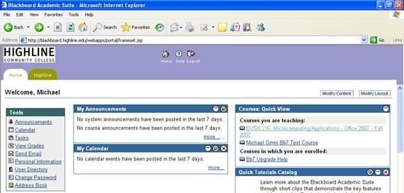Log On To The Blackboard Class Web Site